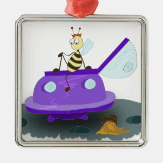 les abeilles débarquent ornement carré argenté