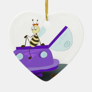 les abeilles débarquent ornement cœur en céramique