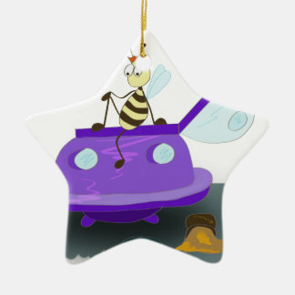 les abeilles débarquent ornement étoile en céramique