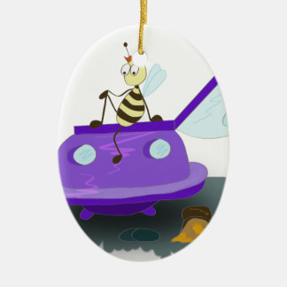 les abeilles débarquent ornement ovale en céramique