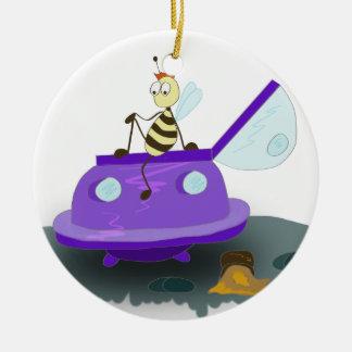 les abeilles débarquent ornement rond en céramique