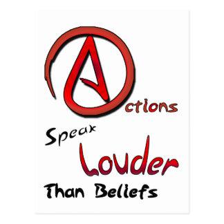 Les actions parlent plus fort que des croyances, carte postale