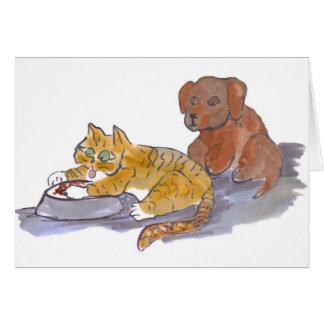 Les aliments pour chiens, Yum, indiquent le chaton Carte De Vœux