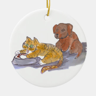 Les aliments pour chiens, Yum, indiquent le chaton Ornement Rond En Céramique