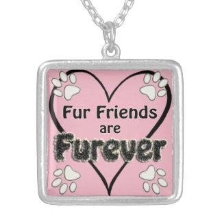 Les amis de fourrure sont Furever ! Pendentif Carré