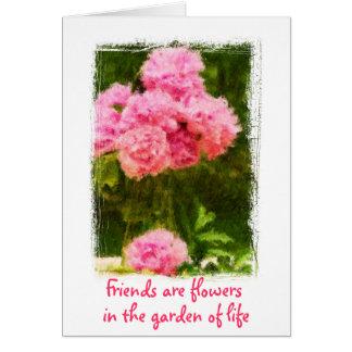 Les amis sont carte de pivoine de citation de fleu
