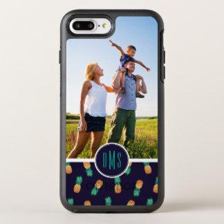 Les ananas sur Navy| ajoutent votre photo et Coque Otterbox Symmetry Pour iPhone 7 Plus