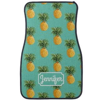 Les ananas tropicaux sur Teal | ajoutent votre nom Tapis De Sol