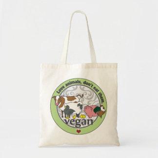 Les animaux d'amour ne les mangent pas végétaliens sac en toile budget