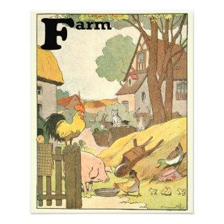 Les animaux de ferme ont illustré l'alphabet impression photo