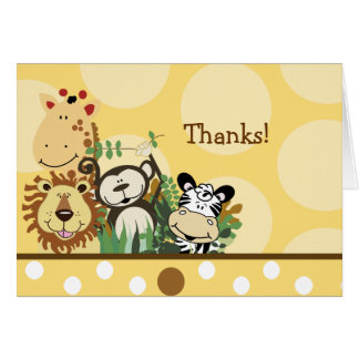 Les animaux d'ÉQUIPAGE de ZOO (jaune) pliés vous Cartes De Vœux