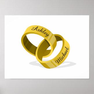 Les anneaux de mariage de verrouillage - gravez posters