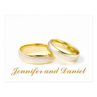 Les anneaux de mariage d'or sauvent les cartes pos carte postale