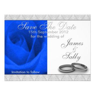 Les anneaux de rose et de mariage de bleu sauvent faire-part personnalisé