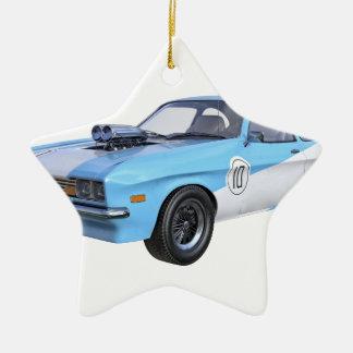 les années 1970 bleues et voiture blanche de ornement étoile en céramique