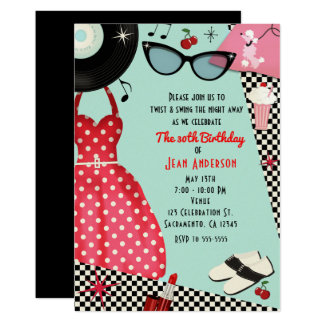 les années '50 des années 1950 habillent de rétros carton d'invitation  12,7 cm x 17,78 cm