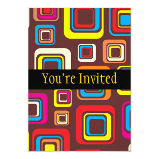 Les années 70 carrés super de motif de tuile sur carton d'invitation  12,7 cm x 17,78 cm