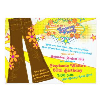 les années 70 fête d'anniversaire super des fonds carton d'invitation  12,7 cm x 17,78 cm