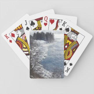 Les arbres givrés d'hiver sur le rivage du nord jeu de cartes