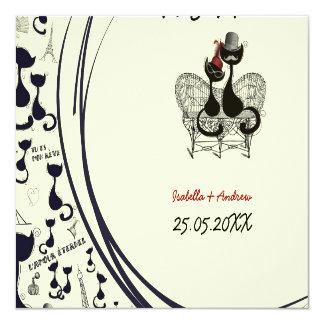 Les Aristochats Noirs - passion française Carton D'invitation 13,33 Cm