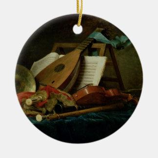 Les attributs de la musique, 1770 (huile sur la ornement rond en céramique