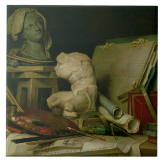 Les attributs des arts, 1769 (huile sur la toile) carreau