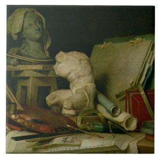 Les attributs des arts, 1769 (huile sur la toile) grand carreau carré