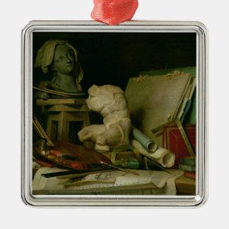 Les attributs des arts, 1769 (huile sur la toile) ornement carré argenté