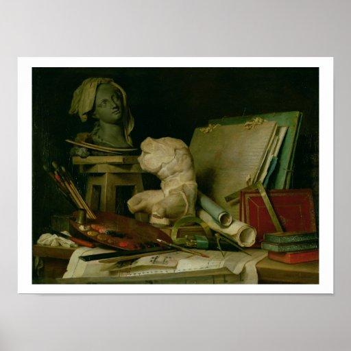 Les attributs des arts, 1769 (huile sur la toile) affiches