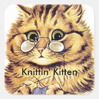 Les autocollants de chat de tricot ont intitulé le