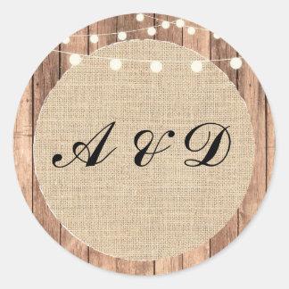 Les autocollants en bois de mariage de toile de