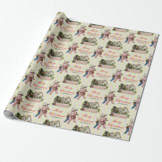 Les baies vintages de houx de Noël badinent la Papier Cadeau