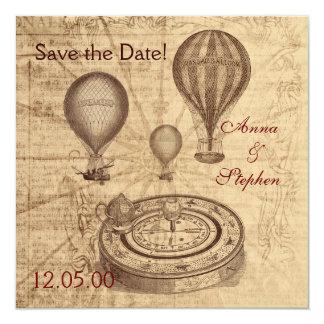 Les ballons à air chauds vintages font gagner la carton d'invitation  13,33 cm