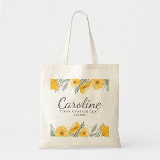 Les belles fleurs jaunes ont personnalisé la sac en toile