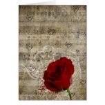 Les belles notes de musique de rose rouge tourbill cartes de vœux