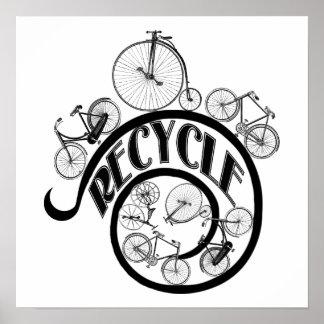Les bicyclettes vintages réutilisent l'habillement posters