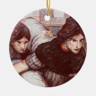 Les blanchisseuses, 1898 (en pastel sur la toile) ornement rond en céramique