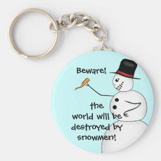Les bonhommes de neige mauvais détruisent le monde porte-clé rond