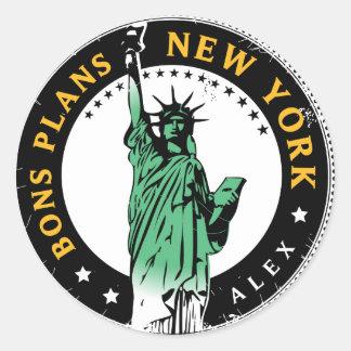 Les Bons Plans pour un voyage à New York Sticker Rond