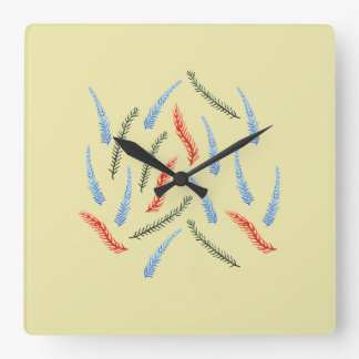 Les branches ajustent l'horloge murale horloge carrée