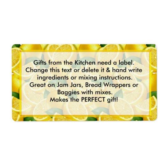 Les cadeaux d'étiquettes de citrons de la cuisine  étiquettes d'expédition