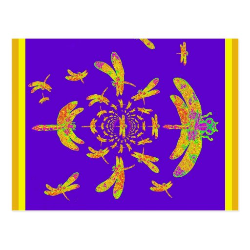 Les cadeaux pourpres de la libellule d'or carte postale
