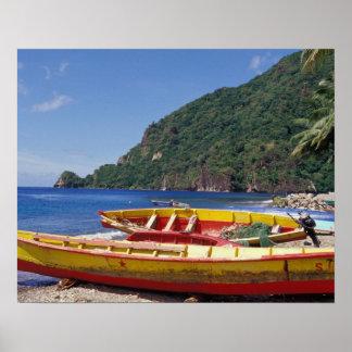 Les Caraïbe, BWI, St Lucia, voiliers, Soufriere. Affiche