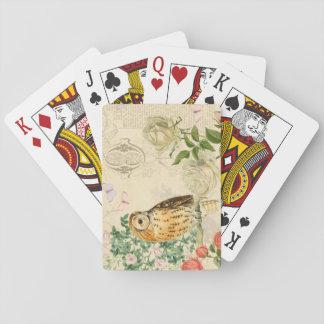 Les cartes de jeu florales de hibou vintage avec cartes à jouer