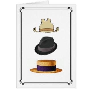Les casquettes des hommes de chapeau en paille de carte de vœux