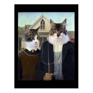 Les chats charrient la carte postale gothique