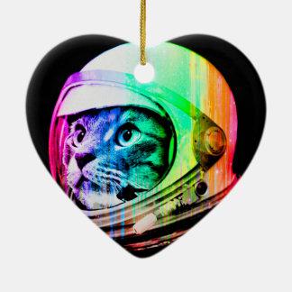 les chats colorés - astronaute de chat - espacent ornement cœur en céramique