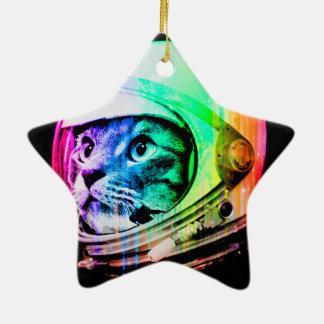 les chats colorés - astronaute de chat - espacent ornement étoile en céramique