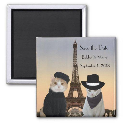 Les chats drôles sauvent le mariage de Paris de da Magnets Pour Réfrigérateur