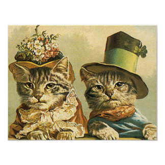 Les chats drôles victoriens vintages dans des carton d'invitation 10,79 cm x 13,97 cm